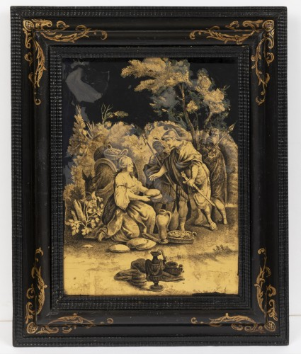 A Pair of Italian ' Fixés sous Verre'  Panels early 18th century  - Paintings & Drawings Style