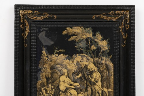 Paintings & Drawings  - A Pair of Italian ' Fixés sous Verre'  Panels early 18th century