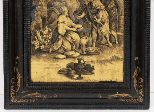 A Pair of Italian ' Fixés sous Verre'  Panels early 18th century  -