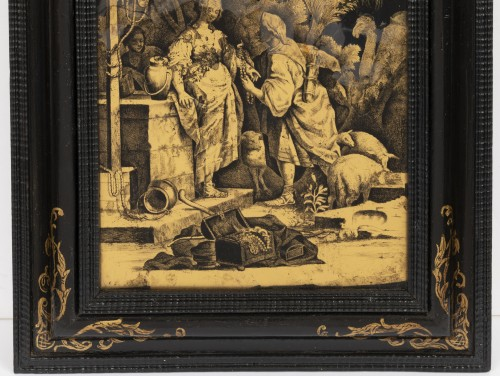 - A Pair of Italian ' Fixés sous Verre'  Panels early 18th century