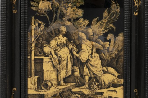 Antiquités - A Pair of Italian ' Fixés sous Verre'  Panels early 18th century