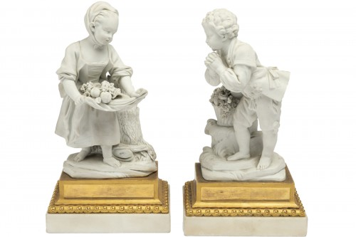"A pair of Sèvres Porcelain "" Biscuits "" Eighteen century stamped Boizot"