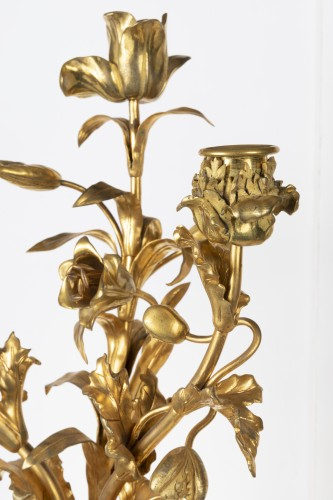 Antiquités - A pair of ormolu Louis XVI three lights Candelabra