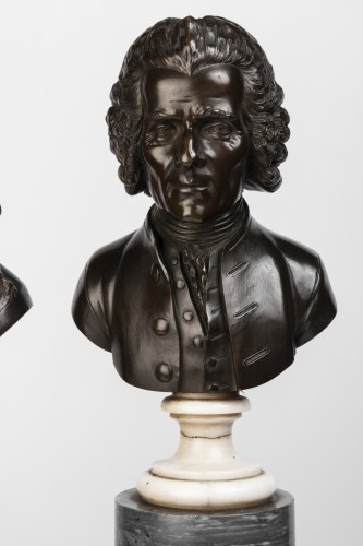 Pair of bronze busts stamped Pierre-Philippe THOMIRE 1790 - Sculpture Style Louis XVI