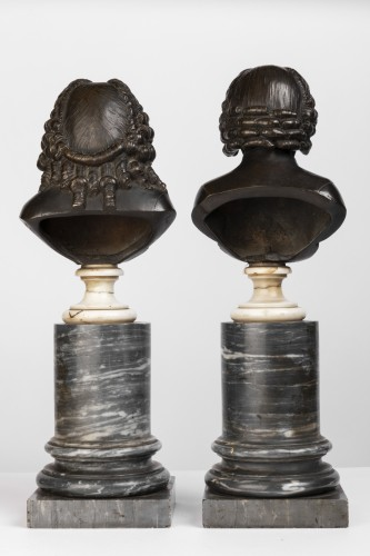 Louis XVI - Pair of bronze busts stamped Pierre-Philippe THOMIRE 1790