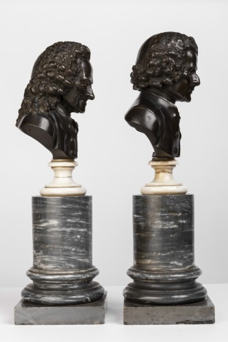 Antiquités - Pair of bronze busts stamped Pierre-Philippe THOMIRE 1790