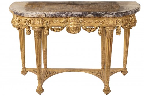 Console en bois doré d'époque Louis XVI attribuée à Georges Jacob