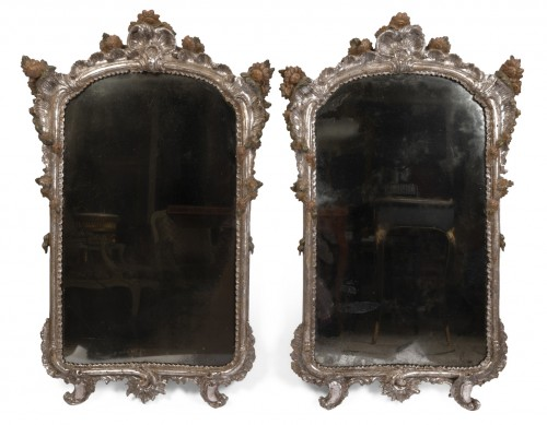 Pair of silver plated wooden mirrors Italian 18 th century