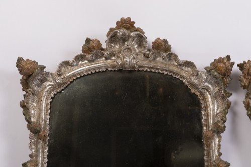 Pair of silver plated wooden mirrors Italian 18 th century - Mirrors, Trumeau Style Louis XV