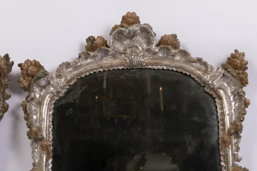 Mirrors, Trumeau  - Pair of silver plated wooden mirrors Italian 18 th century