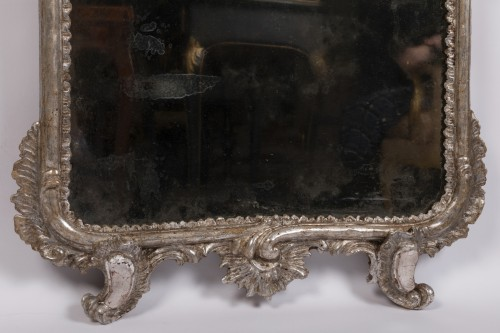 Pair of silver plated wooden mirrors Italian 18 th century -