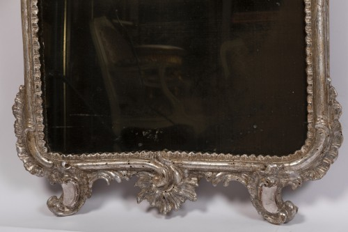 18th century - Pair of silver plated wooden mirrors Italian 18 th century
