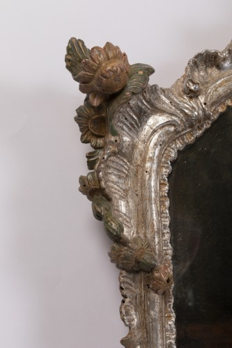 Pair of silver plated wooden mirrors Italian 18 th century - Louis XV