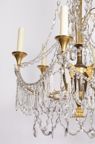 Etruscan cut crystal Chandelier late 18th century   - Lighting Style Directoire