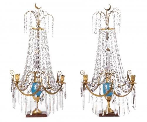 A pair of Swedish ormolu-mounted candelabra late 18th century