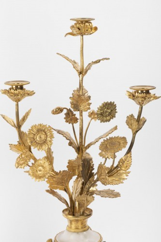 A pair of Louis XVI ormolu-mounted Atheniennes Candelabra - Lighting Style Louis XVI
