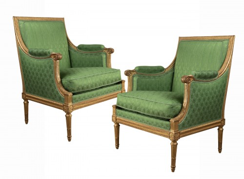 A Pair of Louis XVI giltwood Bergères stamped  G IACOB