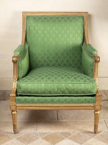 A Pair of Louis XVI giltwood Bergères stamped  G IACOB - Seating Style Louis XVI