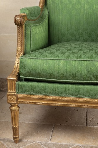 18th century - A Pair of Louis XVI giltwood Bergères stamped  G IACOB