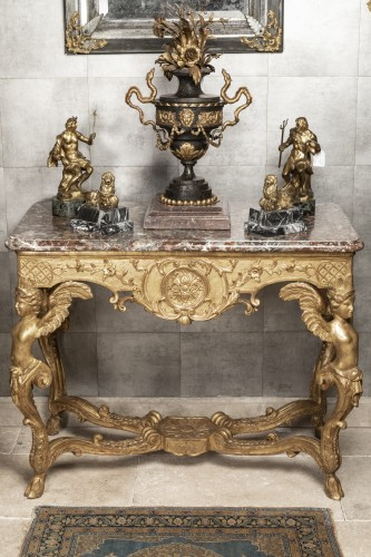 An Giltwood Regence Caryatid Console table  - Furniture Style French Regence