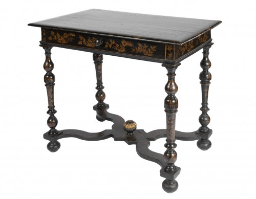 A Louis XIV Table Epoque Louis XIV black lacquer