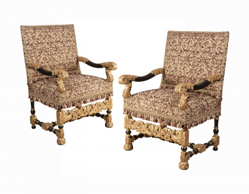 A rarely Pair of Louis XIV giltwood and blackenedwood