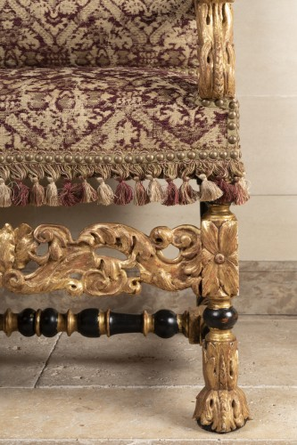17th century - A rarely Pair of Louis XIV giltwood and blackenedwood