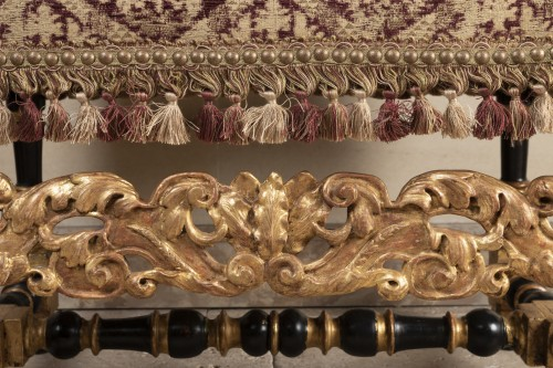 A rarely Pair of Louis XIV giltwood and blackenedwood - Louis XIV