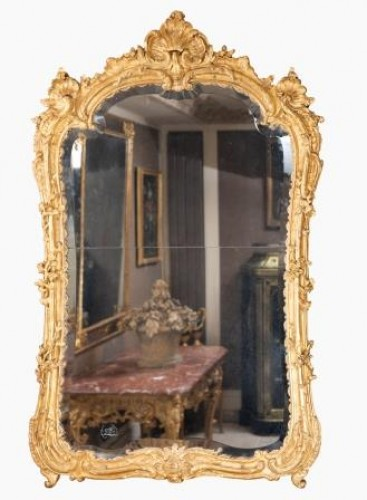 Louis XV - A Louis XV  Gilt wood Mirror