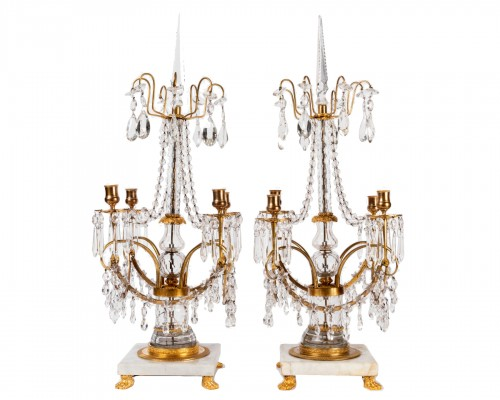 A Pair of Russian ormolu-mounted and cut crystal Candelabra Circa 1810
