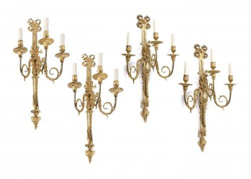 Set of Louis XVI ormolu Two Pairs Three-Branch Wall-Lights