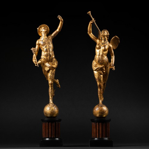 Mercury and Fame - Pair of giltwood statuettes early XVIIIth - Sculpture Style Louis XIV