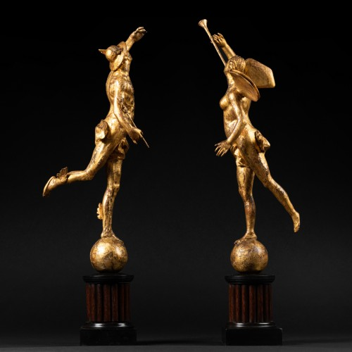 Sculpture  - Mercury and Fame - Pair of giltwood statuettes early XVIIIth