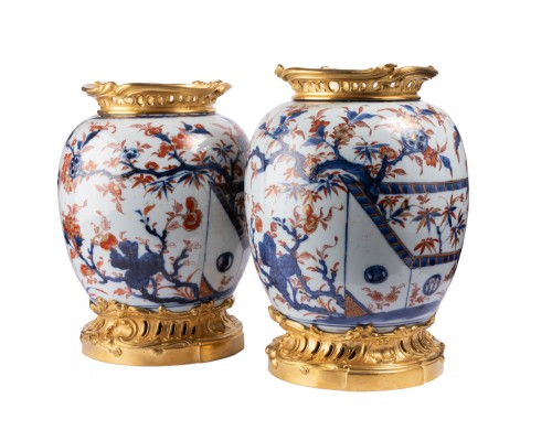 Two ginger jars China porcelain Imari way XVIII° century