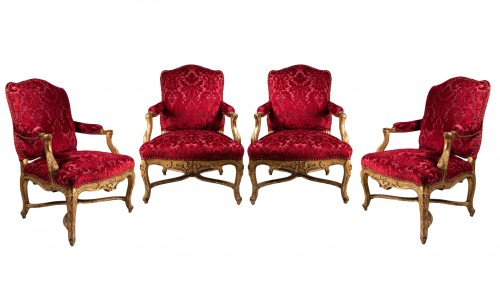 Set of four large armchairs Régence period