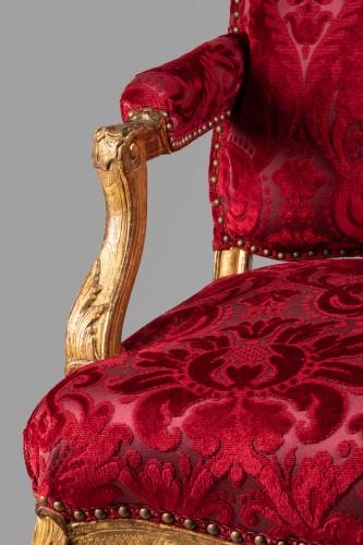 Antiquités - Set of four large armchairs Régence period