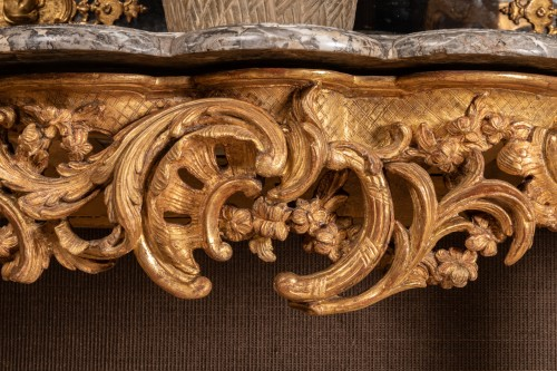 Furniture  - A Large Louis XV giltwood Console
