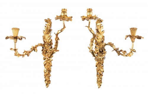 Pair of gilt bronze wall lights Regence period