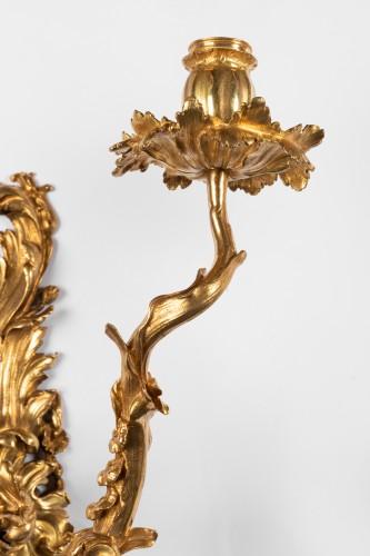 Antiquités - Pair of gilt bronze wall lights Regence period