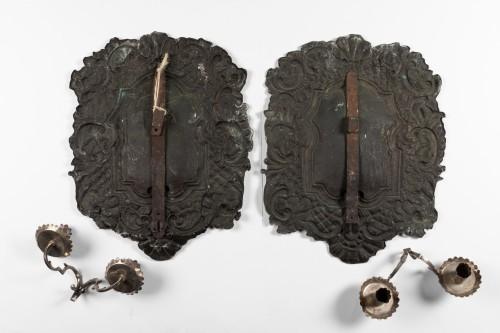 Silvery metal wall lights Pair end XVII°  Century  - Louis XIV