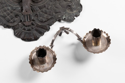 Louis XIV - Silvery metal wall lights Pair end XVII°  Century