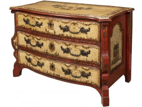 A polychrome-decorated Lacca Povera Commode 18TH century
