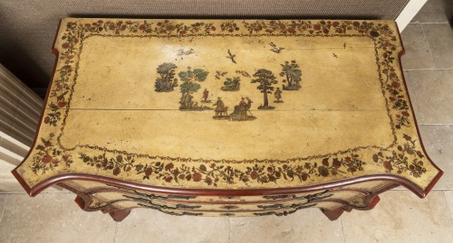 Furniture  - A polychrome-decorated Lacca Povera Commode 18TH century