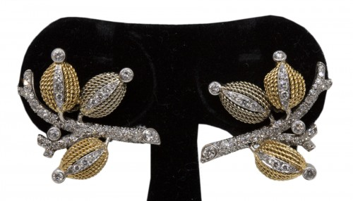 Pair of gold and diamond earrings circa 1960