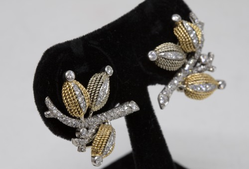 Pair of gold and diamond earrings circa 1960 - Antique Jewellery Style 50