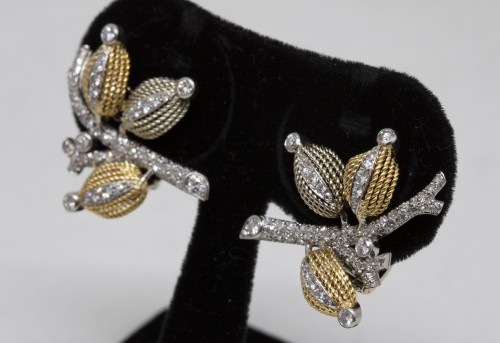 Antique Jewellery  - Pair of gold and diamond earrings circa 1960