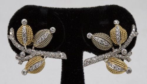Pair of gold and diamond earrings circa 1960 -