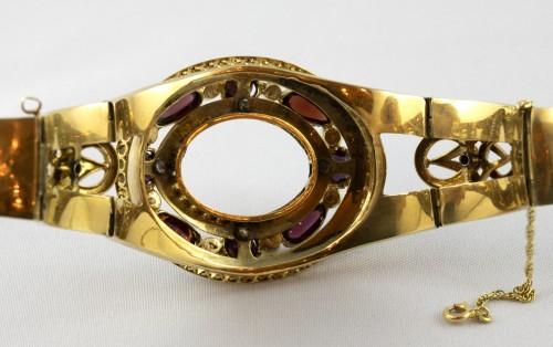 Napoleon III bracelet in 18K gold and black enamel -