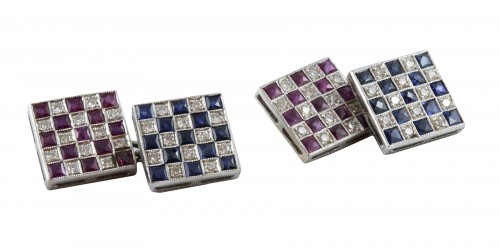 Pair of cufflinks in 18K white gold