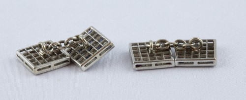 Pair of cufflinks in 18K white gold - Antique Jewellery Style